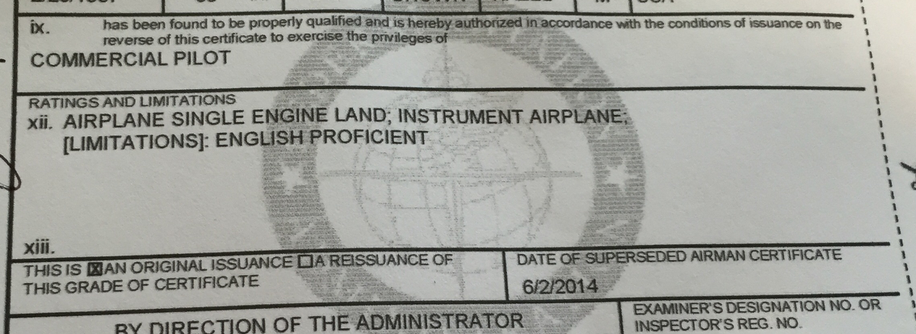 A snippet from my commercial pilot temporary airman certificate...